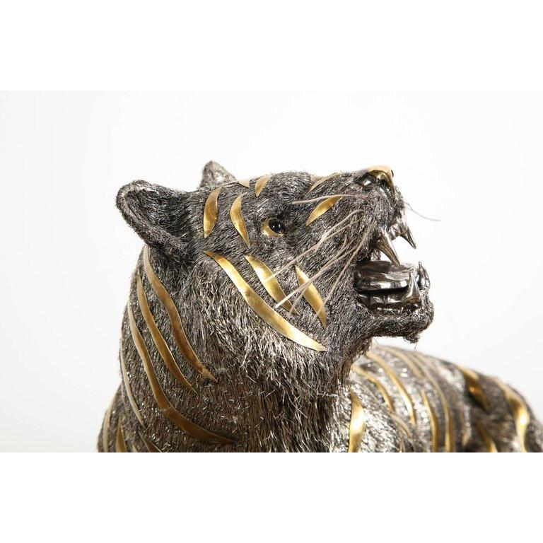 Gianmaria Buccellati, a Rare and Exceptional Italian Silver Striped Tiger For Sale 6