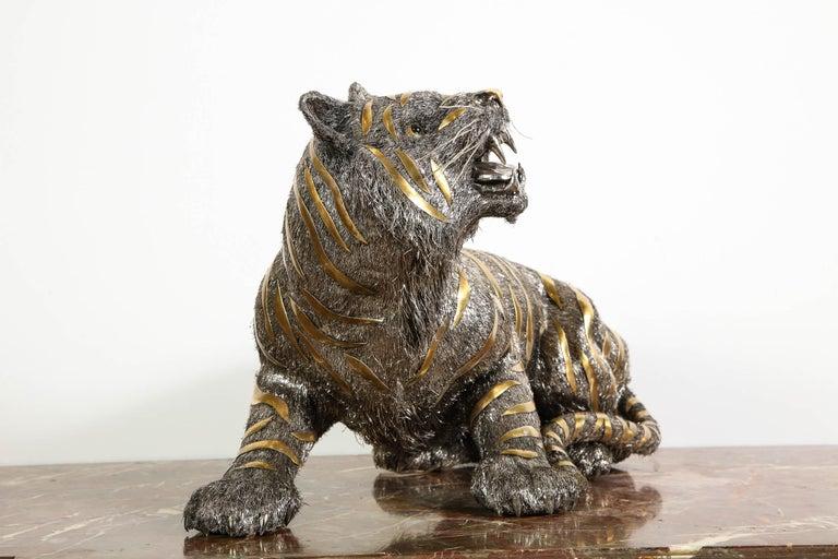 Gianmaria Buccellati, a Rare and Exceptional Italian Silver Striped Tiger For Sale 7