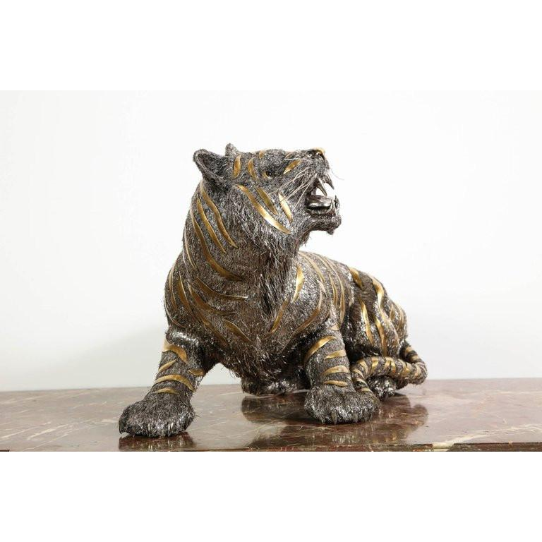 Gianmaria Buccellati, a Rare and Exceptional Italian Silver Striped Tiger For Sale 7