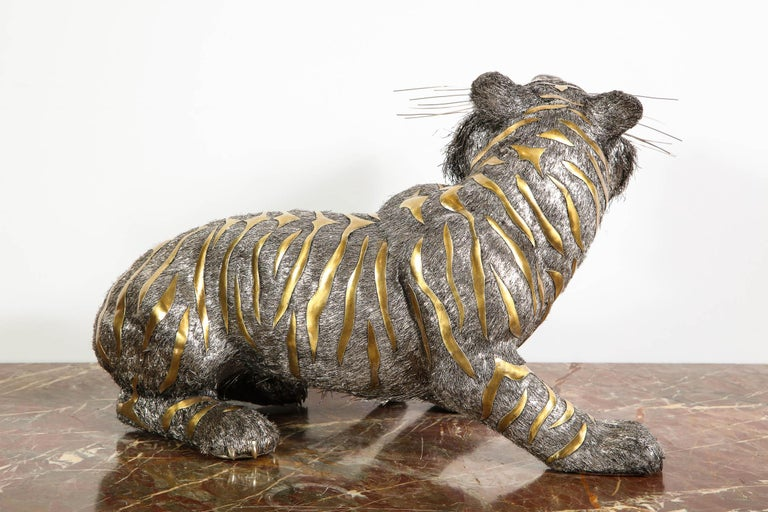 Gianmaria Buccellati, a Rare and Exceptional Italian Silver Striped Tiger For Sale 8