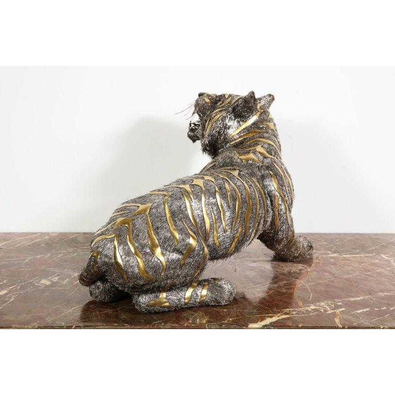 Gianmaria Buccellati, a Rare and Exceptional Italian Silver Striped Tiger For Sale 10