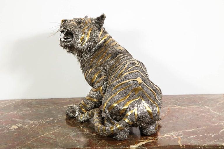 Gianmaria Buccellati, a Rare and Exceptional Italian Silver Striped Tiger For Sale 11