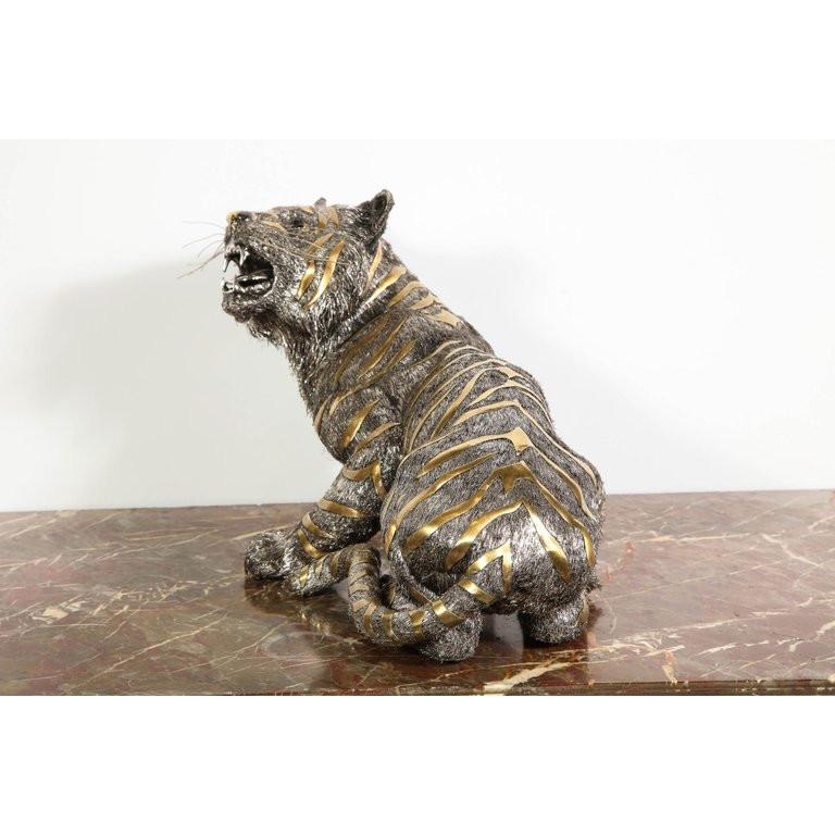 Gianmaria Buccellati, a Rare and Exceptional Italian Silver Striped Tiger For Sale 11