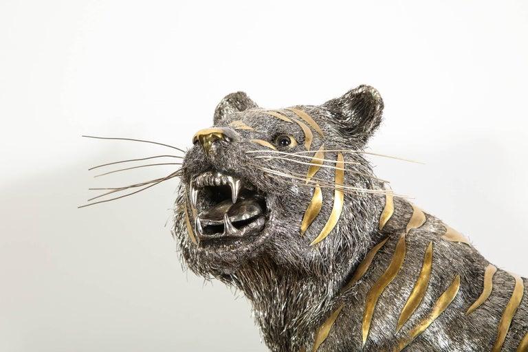 Gianmaria Buccellati, a Rare and Exceptional Italian Silver Striped Tiger For Sale 12