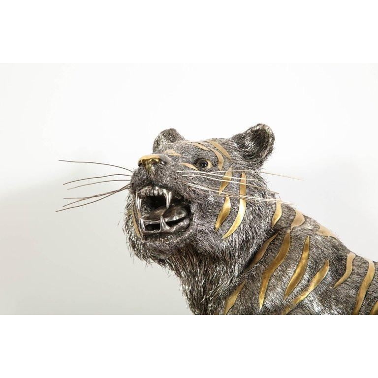 Gianmaria Buccellati, a Rare and Exceptional Italian Silver Striped Tiger For Sale 12
