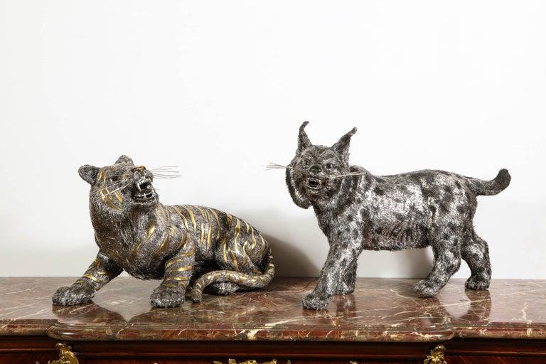 Gianmaria Buccellati, a Rare and Exceptional Italian Silver Striped Tiger For Sale 15