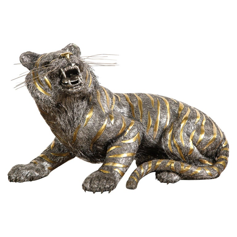 Gianmaria Buccellati, a rare and exceptional Italian silver striped tiger circa 1990s.  Made in Milan Italy.   Retail price was $78,000 USD + Tax.  Very fine quality and workmanship and very large in size.  Measures: 11