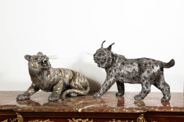 Gianmaria Buccellati, a Rare and Exceptional Italian Silver Striped Tiger For Sale 16