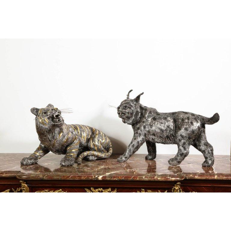Gianmaria Buccellati, a Rare and Exceptional Italian Silver Striped Tiger For Sale 16