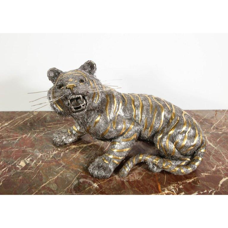 Gianmaria Buccellati, a Rare and Exceptional Italian Silver Striped Tiger In Good Condition For Sale In New York, NY