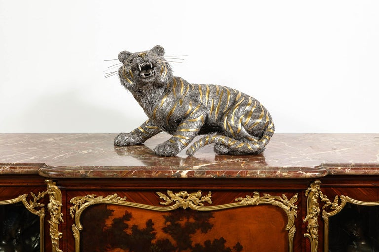 20th Century Gianmaria Buccellati, a Rare and Exceptional Italian Silver Striped Tiger For Sale