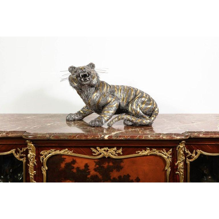 Women's or Men's Gianmaria Buccellati, a Rare and Exceptional Italian Silver Striped Tiger For Sale