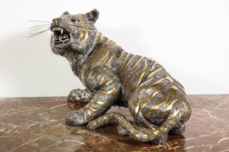 Gianmaria Buccellati, a Rare and Exceptional Italian Silver Striped Tiger For Sale 1