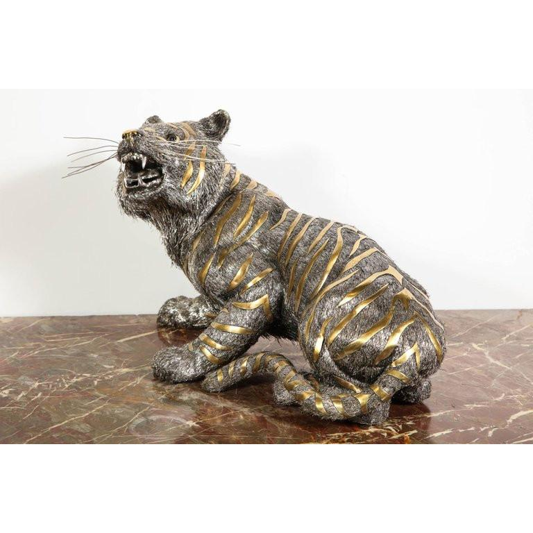 Gianmaria Buccellati, a Rare and Exceptional Italian Silver Striped Tiger For Sale 1
