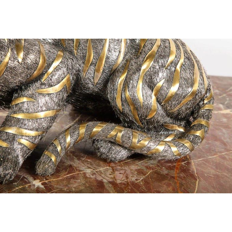 Gianmaria Buccellati, a Rare and Exceptional Italian Silver Striped Tiger For Sale 3