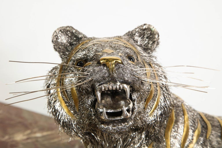 Gianmaria Buccellati, a Rare and Exceptional Italian Silver Striped Tiger For Sale 4