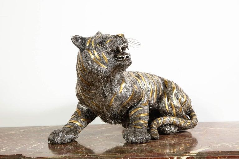 Gianmaria Buccellati, a Rare and Exceptional Italian Silver Striped Tiger For Sale 5
