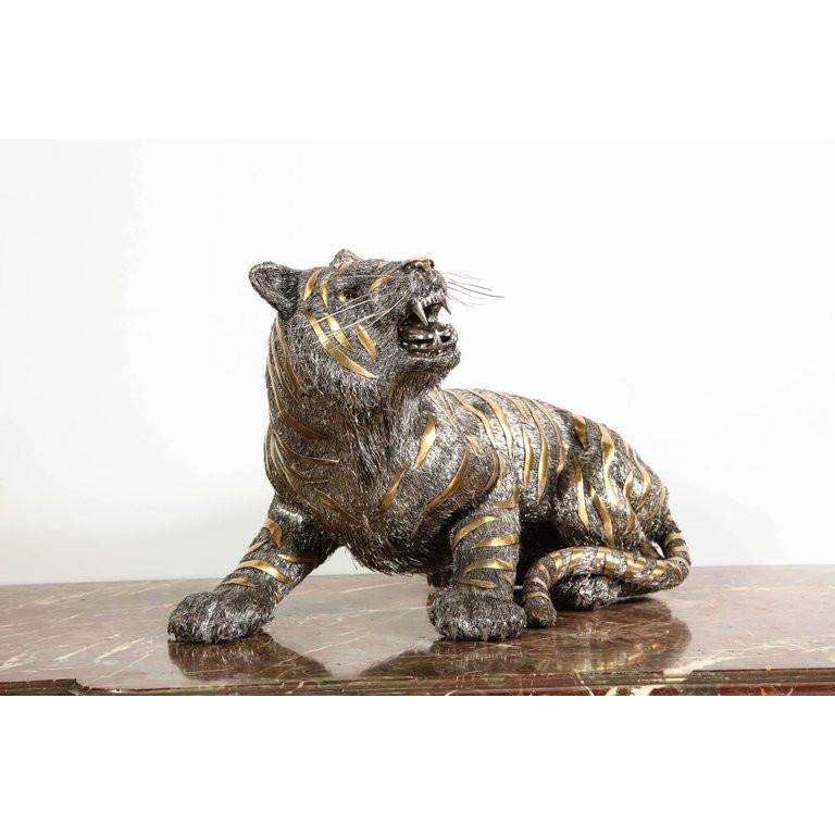 Gianmaria Buccellati, a Rare and Exceptional Italian Silver Striped Tiger For Sale 5