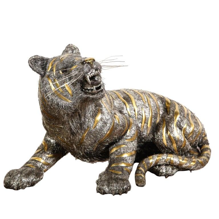 Gianmaria Buccellati, a Rare and Exceptional Italian Silver Striped Tiger For Sale