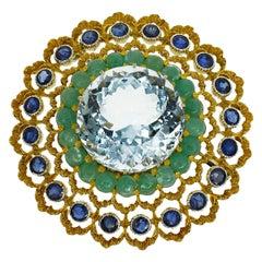 Gianmaria Buccellati Aquamarine Emerald Sapphire Gold Open Work Round Brooch