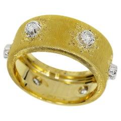 Gianmaria Buccellati Diamond 18 Karat Yellow White Gold Macri Band Ring