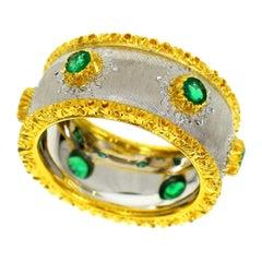 Gianmaria Buccellati Emerald 18 Karat Yellow White Gold Ring