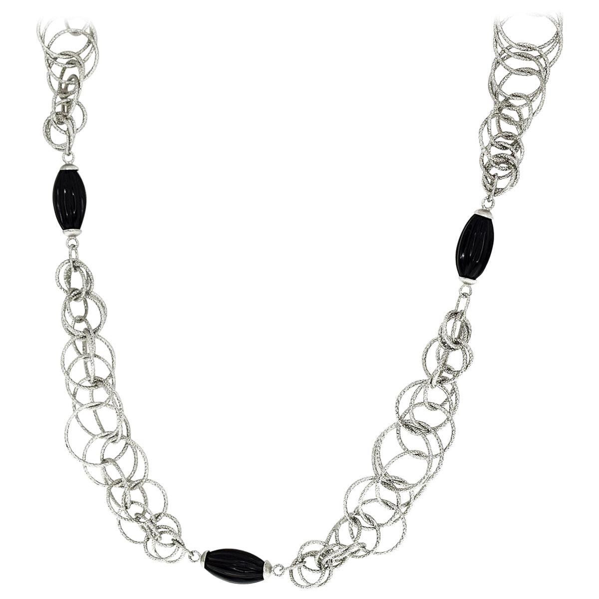 Gianmaria Buccellati Onyx 18 Karat White Gold Honolulu Necklace