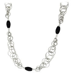 Gianmaria Buccellati Onyx 18 Karat White Gold Honolulu Necklace