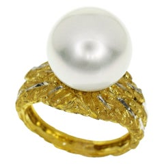 Gianmaria Buccellati Pearl 18 Karat Yellow Gold White Gold Leaf Motif Band Ring