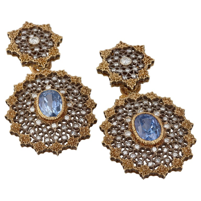 Gianmaria Buccellati Sapphire and Diamond Textured Gold and Silver Earrings For Sale