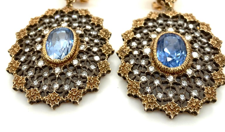 Edwardian Gianmaria Buccellati Sapphire and Diamond Textured Gold and Silver Earrings For Sale