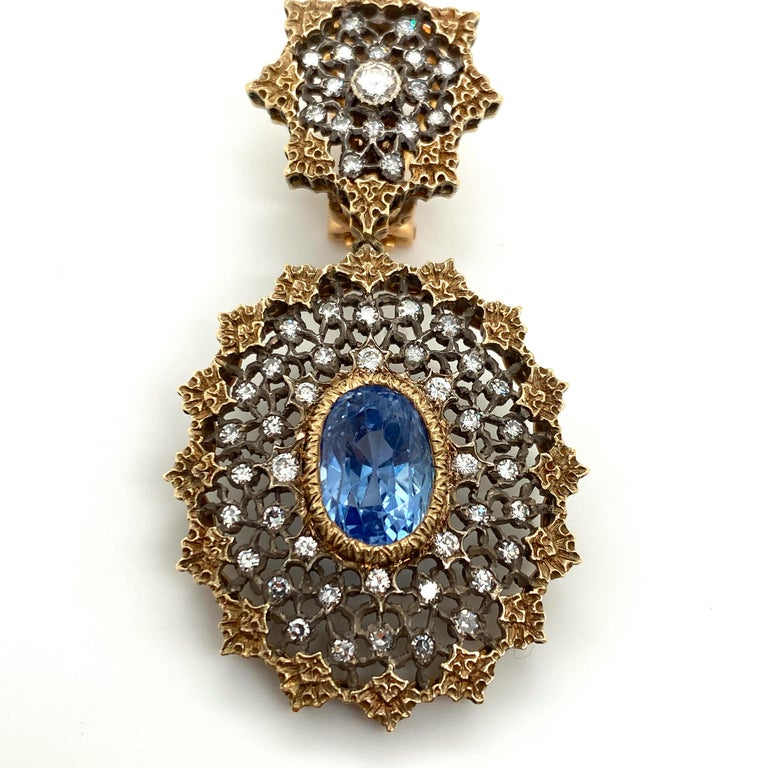 Oval Cut Gianmaria Buccellati Sapphire and Diamond Textured Gold and Silver Earrings For Sale