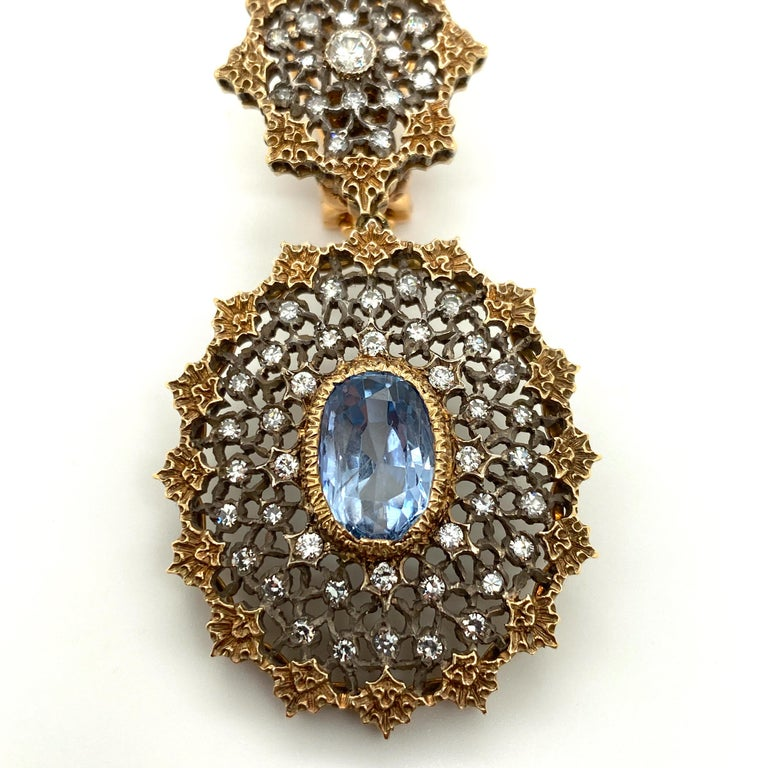Gianmaria Buccellati Sapphire and Diamond Textured Gold and Silver Earrings In Good Condition For Sale In Dallas, TX