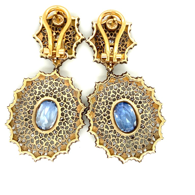 Women's Gianmaria Buccellati Sapphire and Diamond Textured Gold and Silver Earrings For Sale
