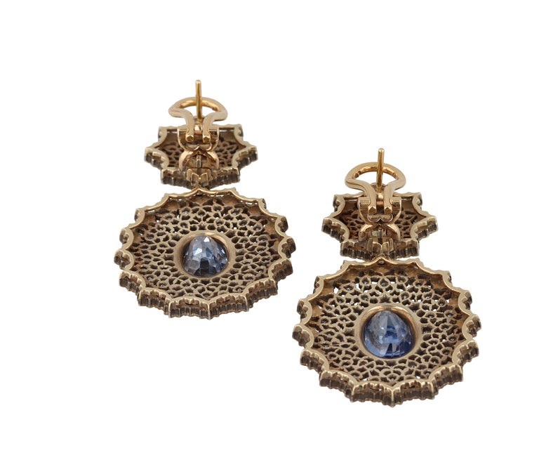 Gianmaria Buccellati Sapphire and Diamond Textured Gold and Silver Earrings For Sale 1