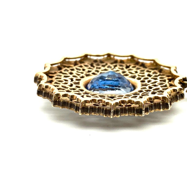 Gianmaria Buccellati Sapphire and Diamond Textured Gold and Silver Earrings For Sale 2