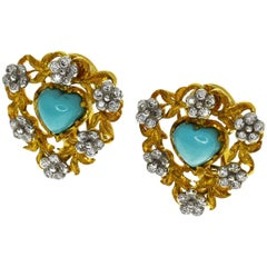Gianmaria Buccellati Turquoise Diamond 18 Karat Yellow Gold Heart Shape Earrings
