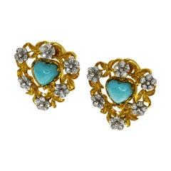 Gianmaria Buccellati Turquoise Diamond 18 Karat Yellow Gold Heart Shape Earrings