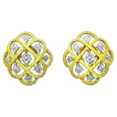 Gianmaria Buccellati Braided Yellow and White Gold Filigree Earrings