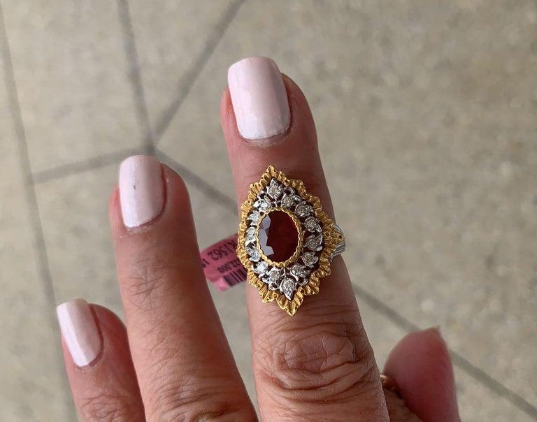 Round Cut Gianmarie Buccellati Diamond, Ruby Ring For Sale