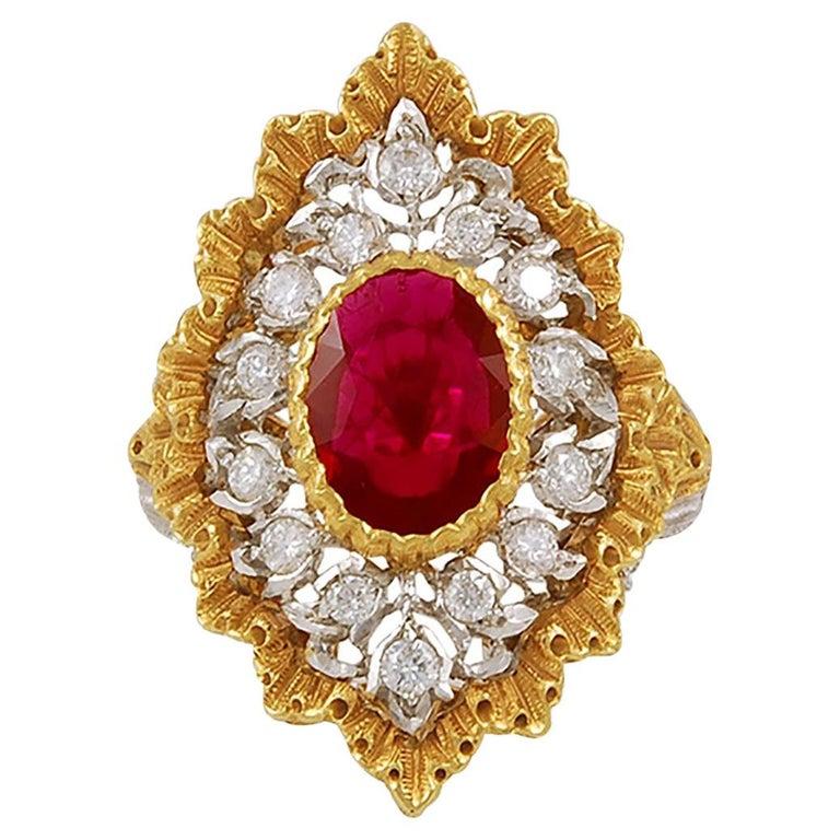 Gianmarie Buccellati Diamond, Ruby Ring For Sale