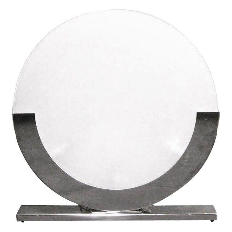 Giannella Ventura Italian Art-Deco Design White Chrome Modern Round Table Lamp