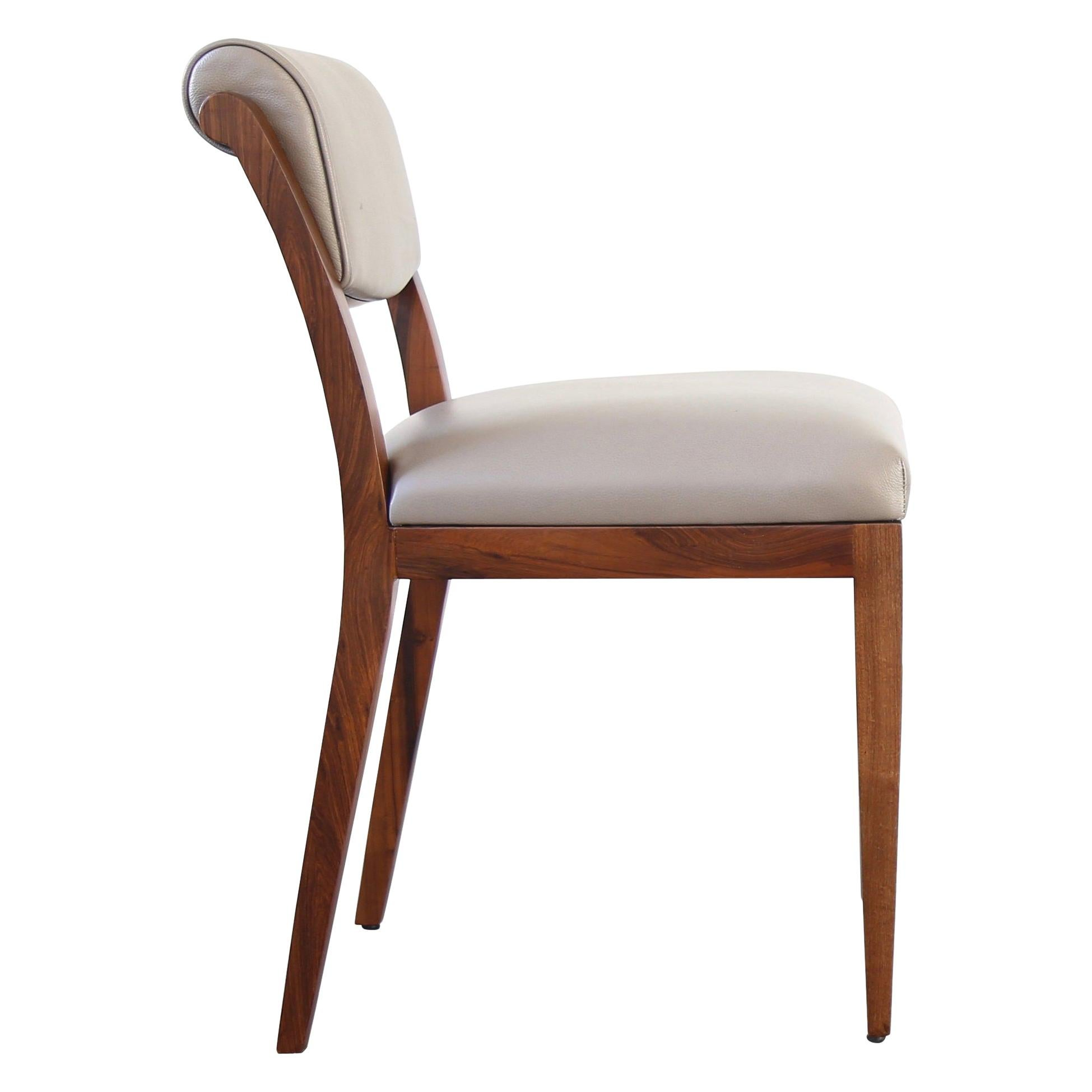 Gianni Contemporary Art Deco Style Leather Dining Chair from Costantini