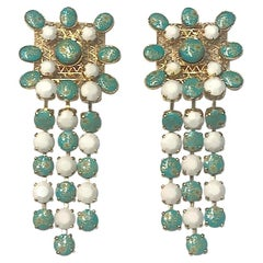 Gianni De Liguoro 1980s Large White & Turquoise Fringe Pendant earrings