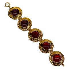 Gianni De Liguoro Byzantine Style Gold & Red Cabochon Bracelet, 1980s