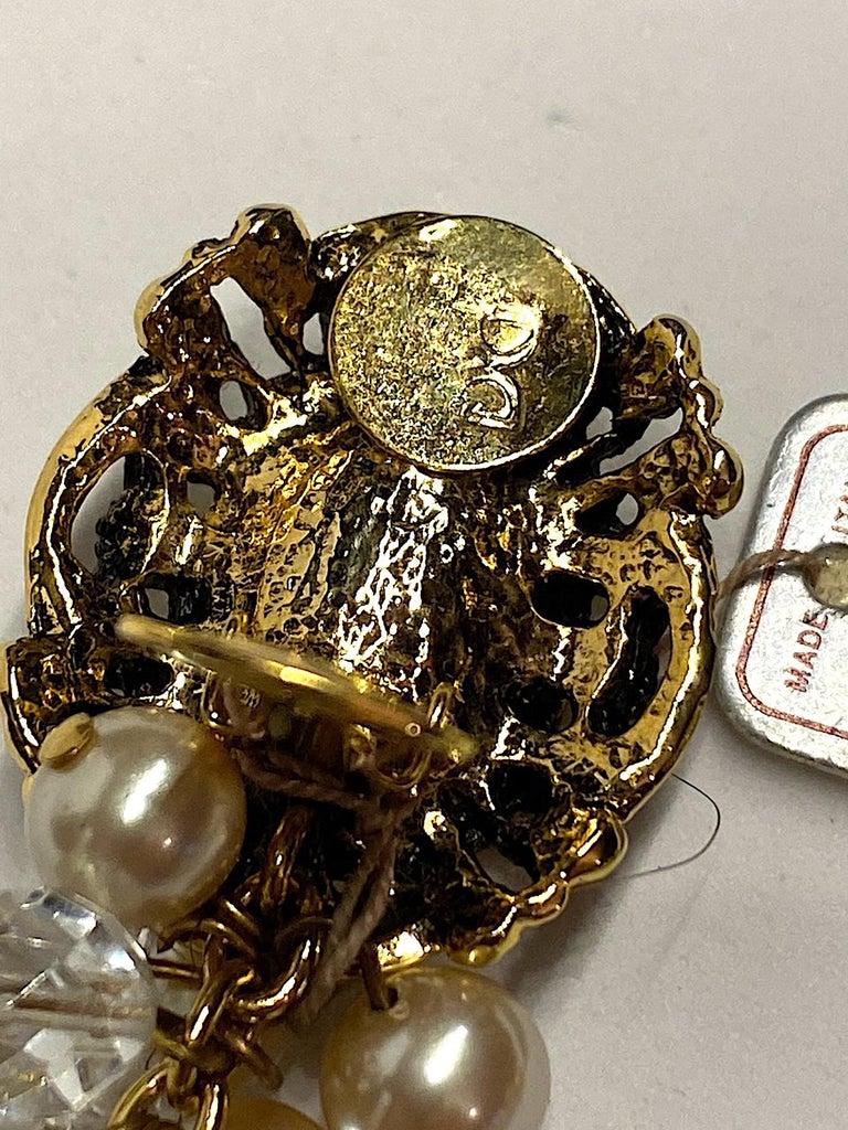 Gianni De Liguoro Crystal & Pearl bead and Rhinestone 1980s Dangle Earrings For Sale 6