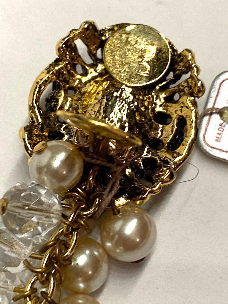 Gianni De Liguoro Crystal & Pearl bead and Rhinestone 1980s Dangle Earrings For Sale 7