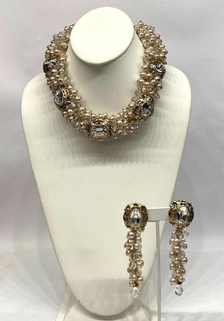Gianni De Liguoro Crystal & Pearl bead and Rhinestone 1980s Dangle Earrings For Sale 9