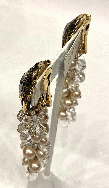 Women's Gianni De Liguoro Crystal & Pearl bead and Rhinestone 1980s Dangle Earrings For Sale
