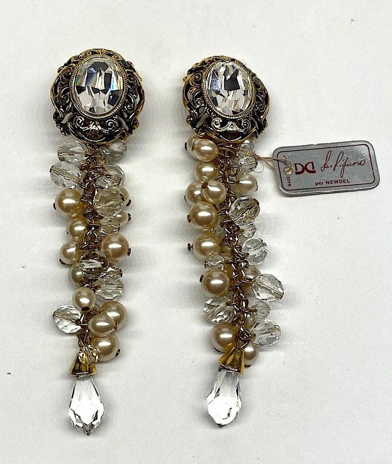 Gianni De Liguoro Crystal & Pearl bead and Rhinestone 1980s Dangle Earrings For Sale 1